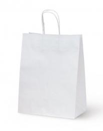 Крафт пакет белый с кручеными ручками